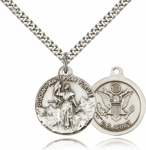 Sterling Silver St. Joan of Arc US Army Necklace by Bliss