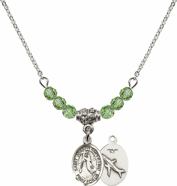 St Joseph of Cupertino Airplane Sterling August Peridot Swarovski Crystal Beaded Necklace by Bliss Mfg