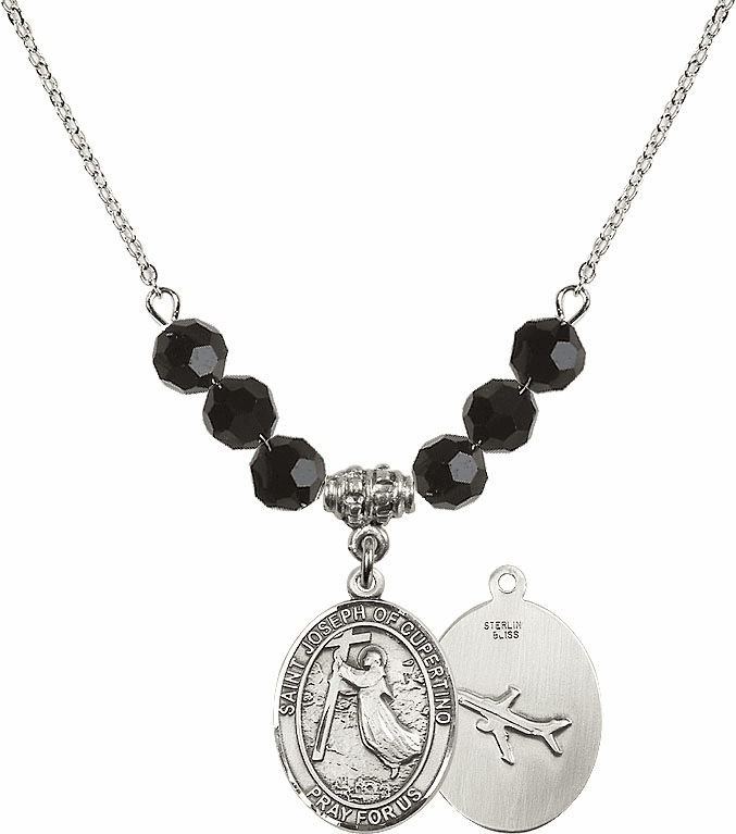 St Joseph of Cupertino Airplane Sterling Black Jet Swarovski Crystal Beaded Necklace by Bliss Mfg