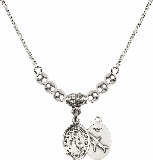 St Joseph of Cupertino Airplane Sterling Charm w/Silver Beads Necklace by Bliss Mfg