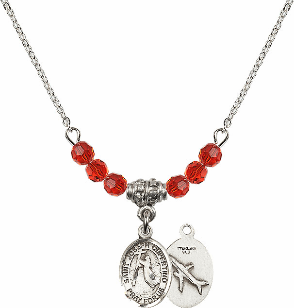 St Joseph of Cupertino Airplane Sterling July Ruby Swarovski Crystal Beaded Necklace by Bliss Mfg