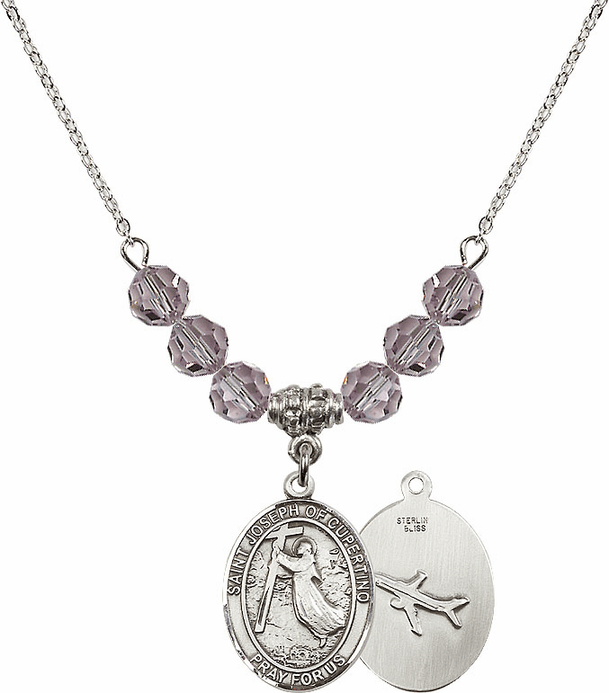St Joseph of Cupertino Airplane Sterling June Lt Amethyst Swarovski Crystal Beaded Necklace by Bliss Mfg