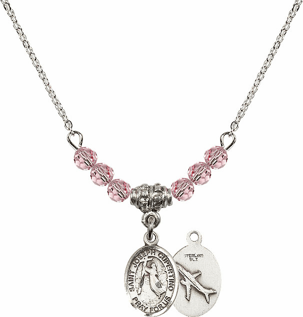 St Joseph of Cupertino Airplane Sterling Lt Rose Swarovski Crystal Beaded Necklace by Bliss Mfg