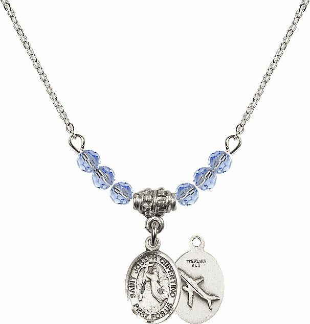 St Joseph of Cupertino Airplane Sterling Lt Sapphire Swarovski Crystal Beaded Necklace by Bliss Mfg