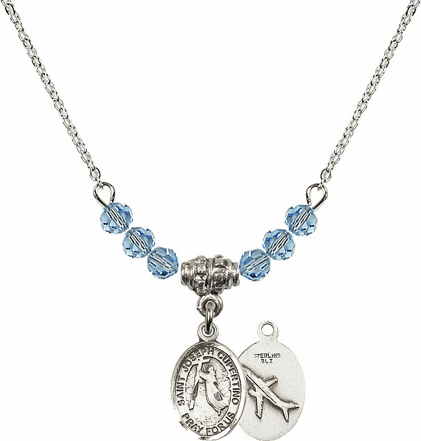St Joseph of Cupertino Airplane Sterling March Aqua Swarovski Crystal Beaded Necklace by Bliss Mfg