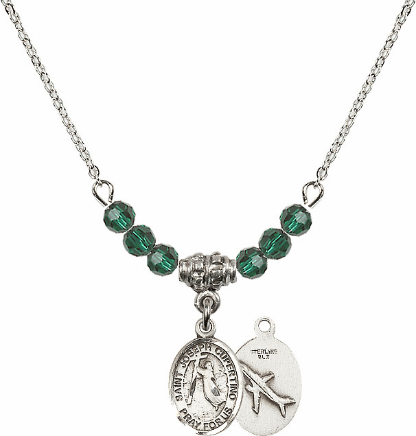 St Joseph of Cupertino Airplane Sterling May Emerald Swarovski Crystal Beaded Necklace by Bliss Mfg