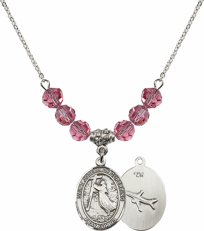 St Joseph of Cupertino Airplane Sterling October Rose Swarovski Crystal Beaded Necklace by Bliss Mfg