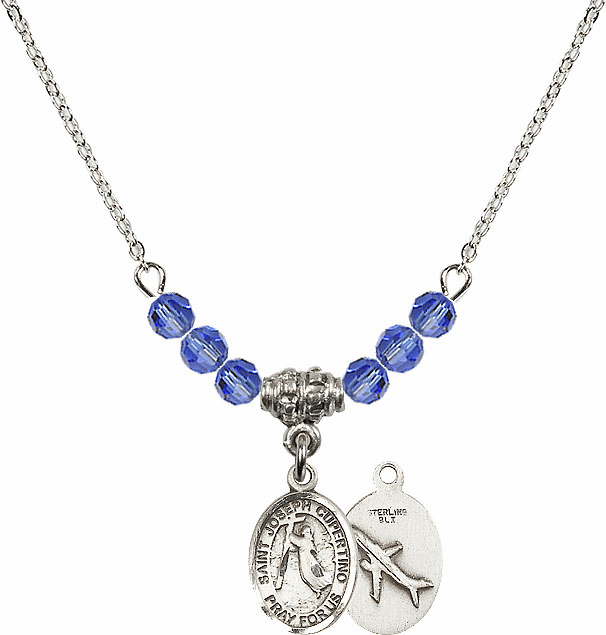 St Joseph of Cupertino Airplane Sterling September Sapphire Swarovski Crystal Beaded Necklace by Bliss Mfg
