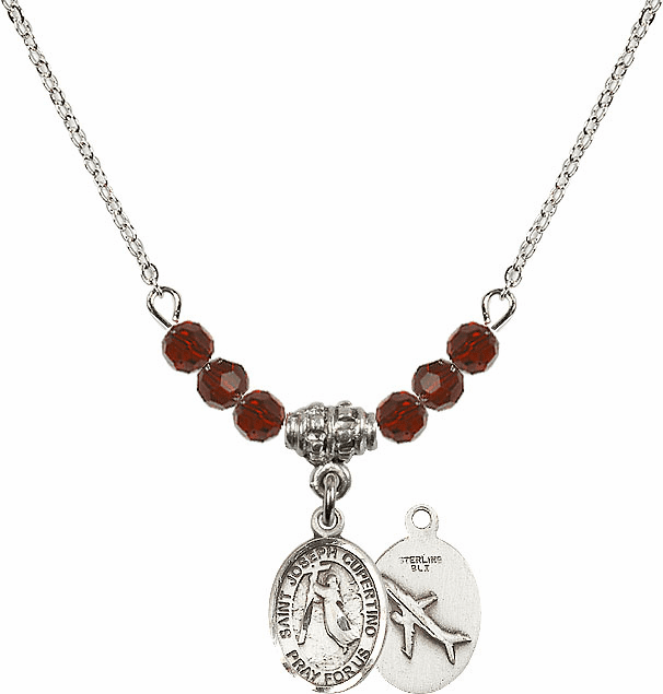 St Joseph of Cupertino Airplane Swarovski Crystal Beaded Necklace by Bliss Mfg