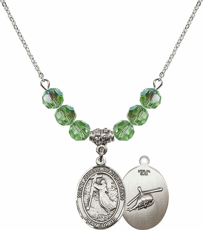 St Joseph of Cupertino Helecopter Sterling August Peridot Swarovski Crystal Beaded Necklace by Bliss Mfg