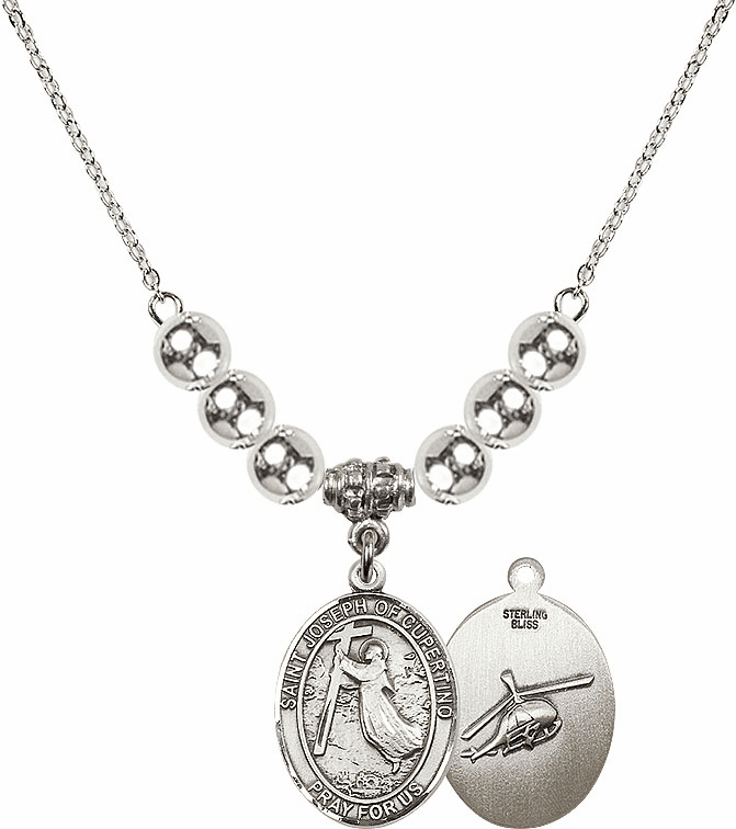 St Joseph of Cupertino Helecopter Sterling Charm w/Silver Beads Necklace by Bliss Mfg