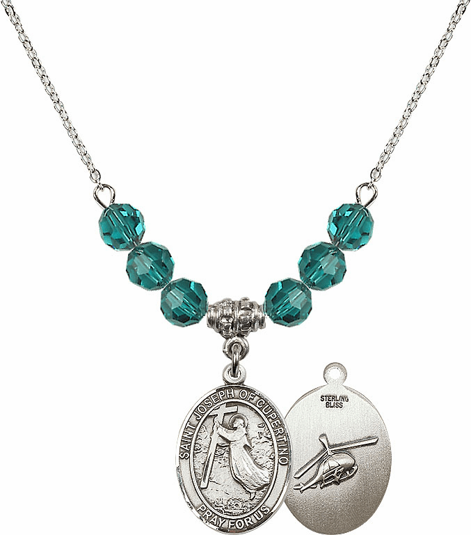 St Joseph of Cupertino Helecopter Sterling December Zircon Swarovski Crystal Beaded Necklace by Bliss Mfg