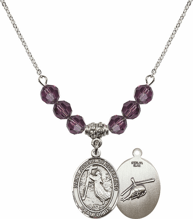 St Joseph of Cupertino Helecopter Sterling February Amethyst Swarovski Crystal Beaded Necklace by Bliss Mfg