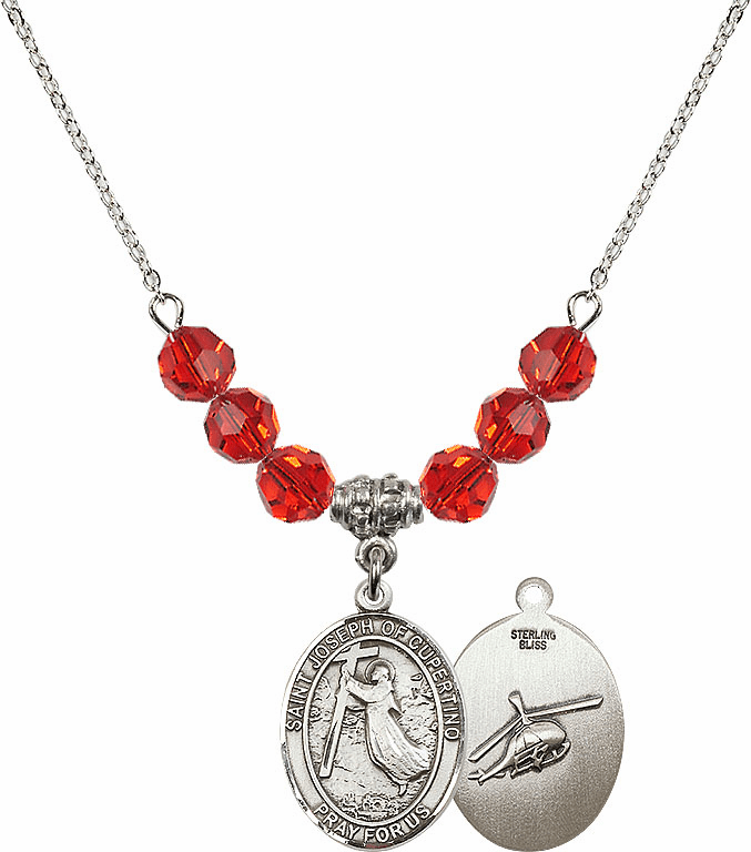 St Joseph of Cupertino Helecopter Sterling July Ruby Swarovski Crystal Beaded Necklace by Bliss Mfg
