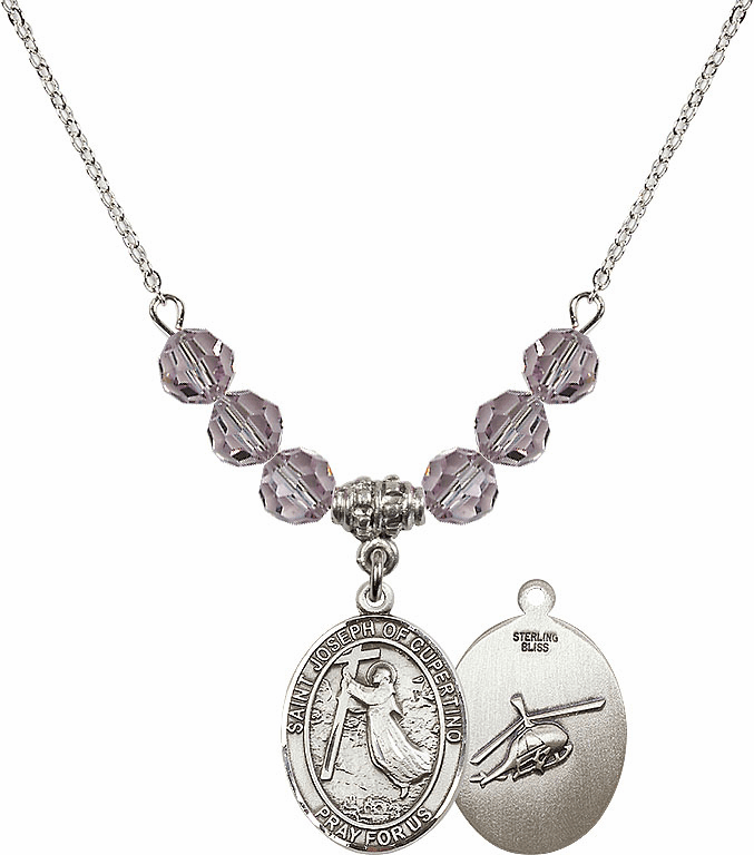 St Joseph of Cupertino Helecopter Sterling June Lt Amethyst Swarovski Crystal Beaded Necklace by Bliss Mfg