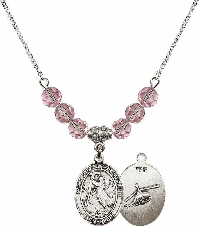 St Joseph of Cupertino Helecopter Sterling Lt Rose Swarovski Crystal Beaded Necklace by Bliss Mfg