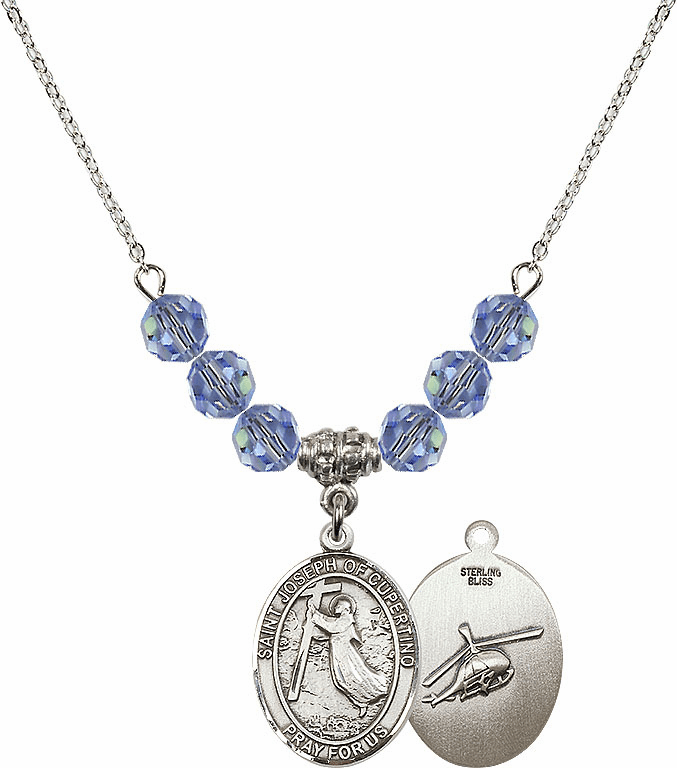 St Joseph of Cupertino Helecopter Sterling Lt Sapphire Swarovski Crystal Beaded Necklace by Bliss Mfg