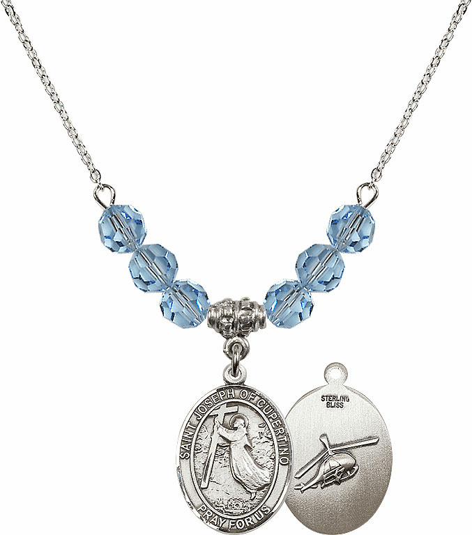 St Joseph of Cupertino Helecopter Sterling March Aqua Swarovski Crystal Beaded Necklace by Bliss Mfg
