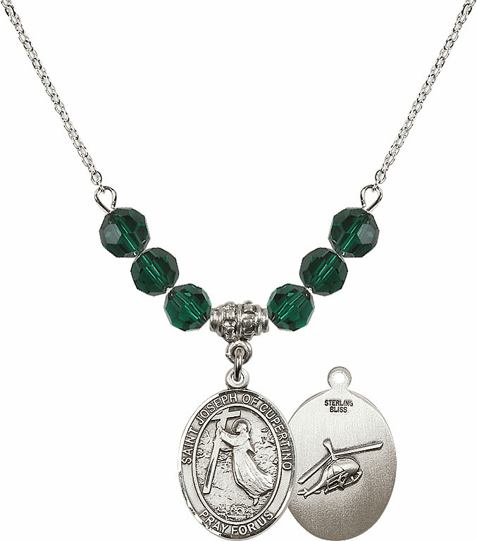 St Joseph of Cupertino Helecopter Sterling May Emerald Swarovski Crystal Beaded Necklace by Bliss Mfg