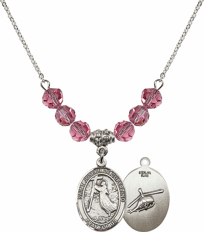 St Joseph of Cupertino Helecopter Sterling October Rose Swarovski Crystal Beaded Necklace by Bliss Mfg