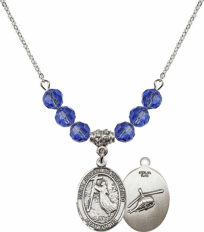 St Joseph of Cupertino Helecopter Sterling September Sapphire Swarovski Crystal Beaded Necklace by Bliss Mfg