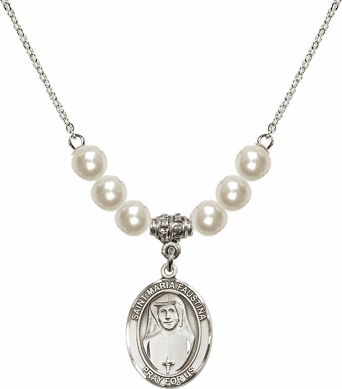 St Maria Faustina Kowalska Sterling 6mm Faux Pearlsl Necklace by Bliss Mfg