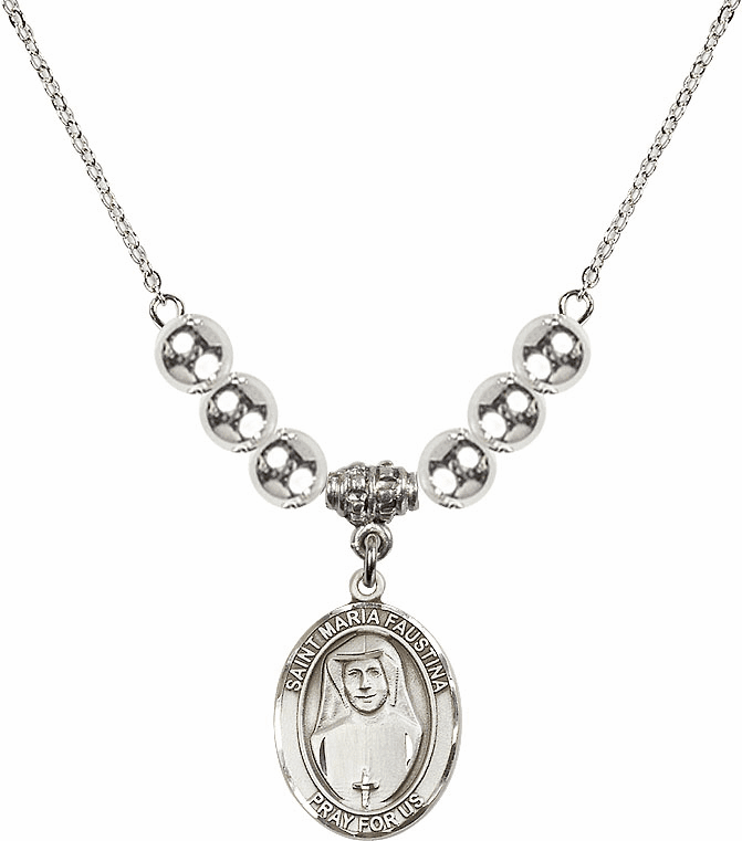 St Maria Faustina Kowalska Sterling Charm w/6mm Silver Beaded Necklace by Bliss Mfg