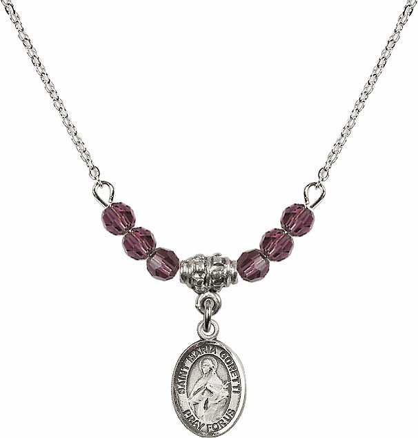 Sterling Silver St Maria Goretti Sterling February Amethyst 4mm Swarovski Crystal Necklace by Bliss Mfg