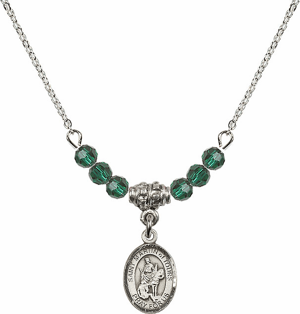 Sterling Silver St Martin of Tours Sterling May Emerald 4mm Swarovski Crystal Necklace by Bliss Mfg