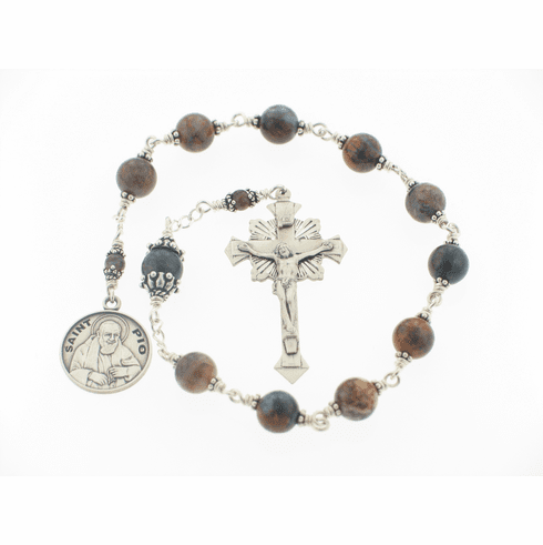 Sterling Silver St Padre Pio of Pietrelcina Prayer One Decade Pocket Rosary by Heavenly Divine