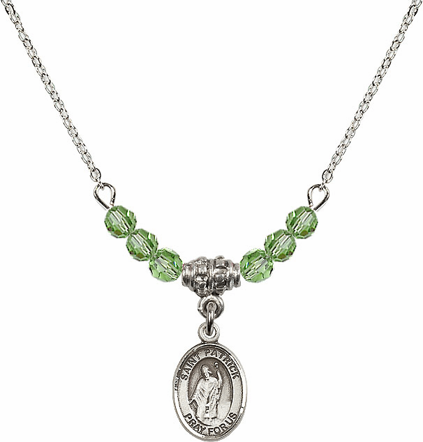 Sterling Silver St Patrick Sterling August Peridot Swarovski Crystal Beaded Necklace by Bliss Mfg