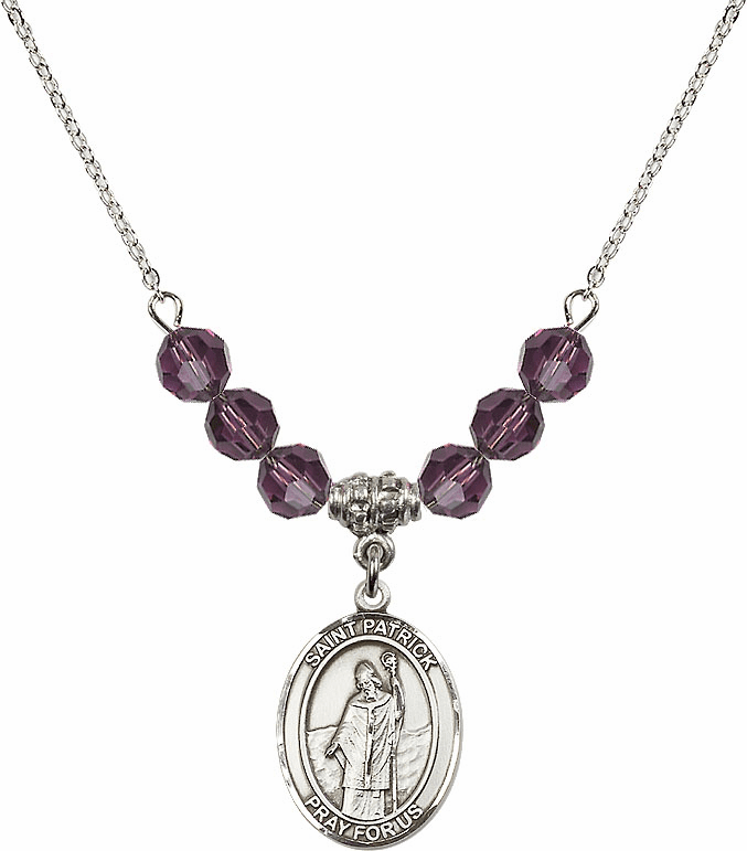 Sterling Silver St Patrick Sterling February Amethyst Swarovski Crystal Beaded Necklace by Bliss Mfg