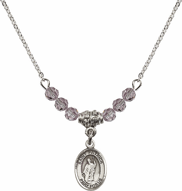 Sterling Silver St Patrick Sterling June Lt Amethyst Swarovski Crystal Beaded Necklace by Bliss Mfg