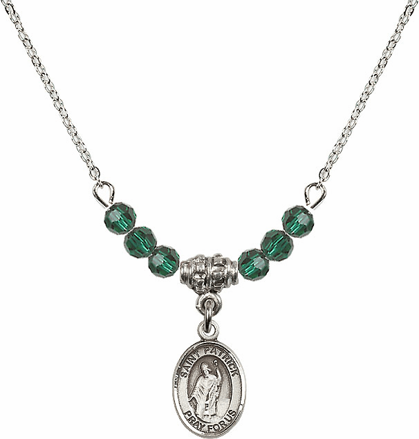 Sterling Silver St Patrick Sterling May Emerald Swarovski Crystal Beaded Necklace by Bliss Mfg