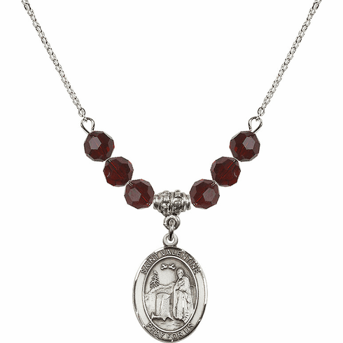 Sterling Silver St Valentine of Rome Swarovski Crystal Beaded Necklace by Bliss Mfg