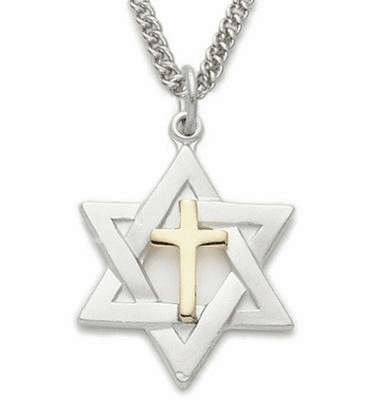 Sterling Silver Star of David with Centered Cross Necklace