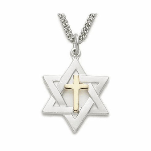 Singer Sterling Silver Two-Tone Star of David with Cross Necklace