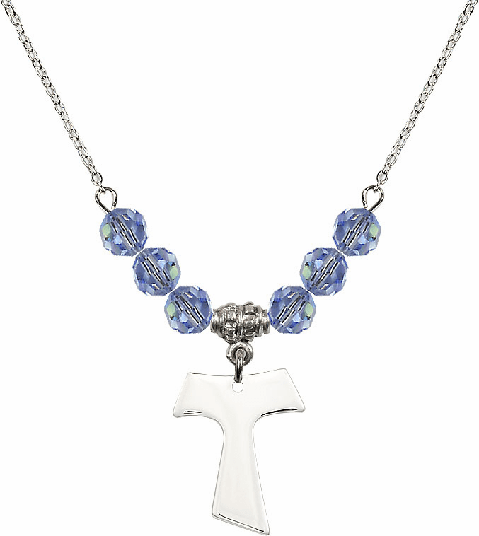 Sterling Silver Tau Cross Sterling Lt Sapphire 6mm Swarovski Crystal Necklace by Bliss Mfg