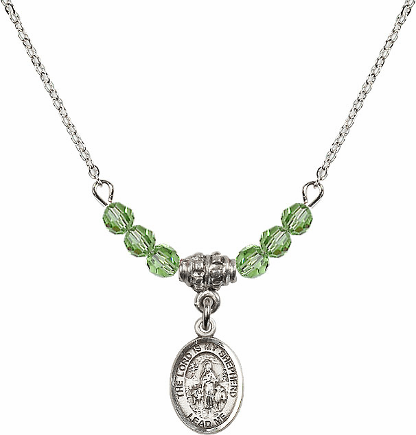 The Lord is My Shepherd Sterling August Peridot Swarovski Crystal Beaded Necklace by Bliss Mfg