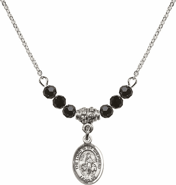 The Lord is My Shepherd Sterling Black Jet Swarovski Crystal Beaded Necklace by Bliss Mfg