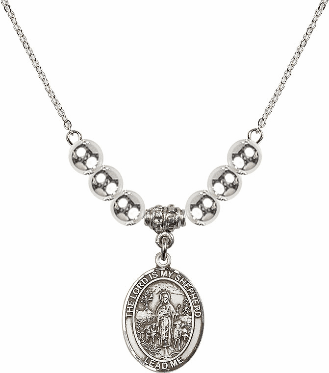 The Lord is My Shepherd Sterling Charm w/Silver Beads Necklace by Bliss Mfg