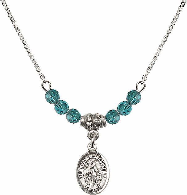 The Lord is My Shepherd Sterling December Zircon Swarovski Crystal Beaded Necklace by Bliss Mfg