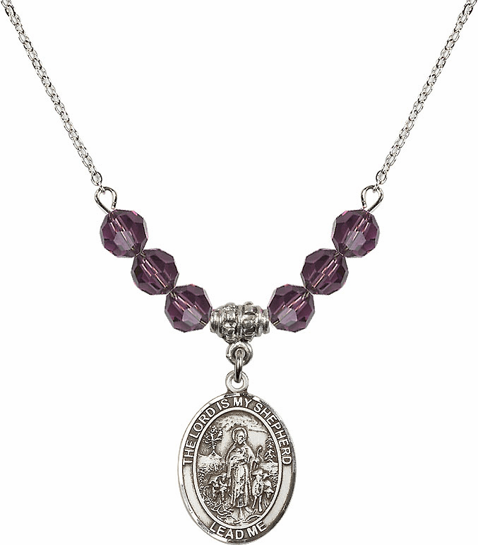 The Lord is My Shepherd Sterling February Amethyst Swarovski Crystal Beaded Necklace by Bliss Mfg