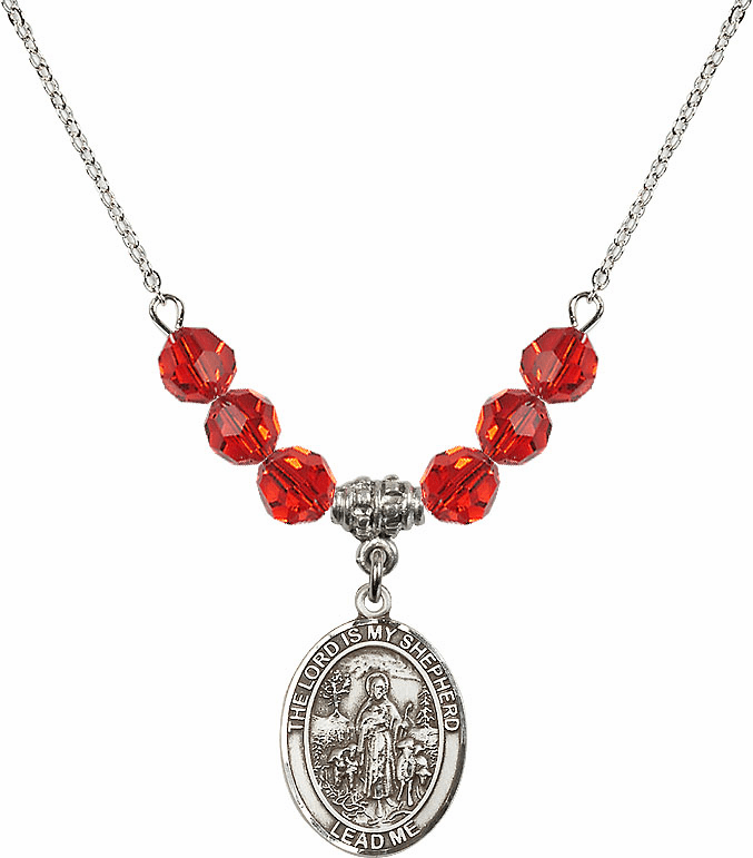 The Lord is My Shepherd Sterling July Ruby Swarovski Crystal Beaded Necklace by Bliss Mfg