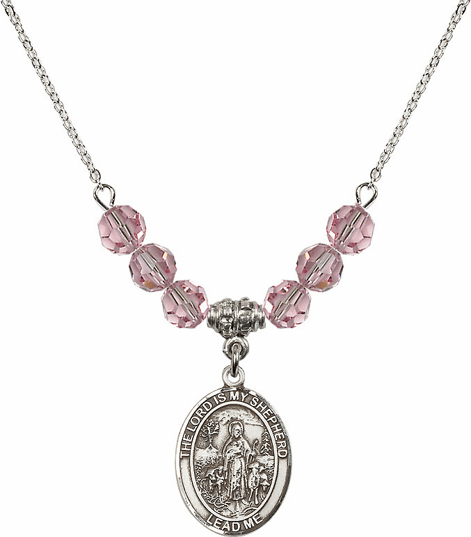 The Lord is My Shepherd Sterling Lt Rose Swarovski Crystal Beaded Necklace by Bliss Mfg