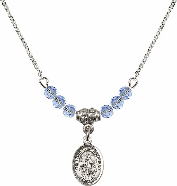 The Lord is My Shepherd Sterling Lt Sapphire Swarovski Crystal Beaded Necklace by Bliss Mfg
