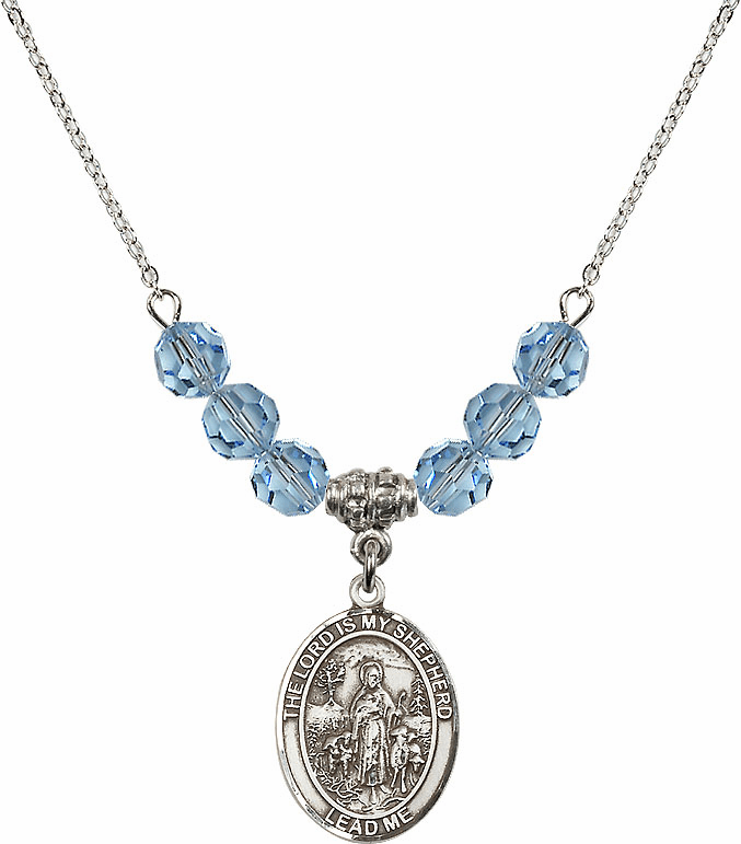 The Lord is My Shepherd Sterling March Aqua Swarovski Crystal Beaded Necklace by Bliss Mfg