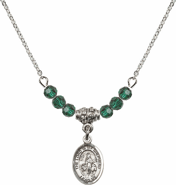 The Lord is My Shepherd Sterling May Emerald Swarovski Crystal Beaded Necklace by Bliss Mfg