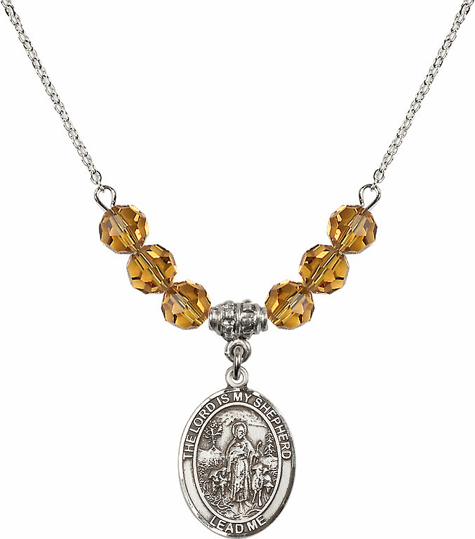 The Lord is My Shepherd Sterling November Topaz Swarovski Crystal Beaded Necklace by Bliss Mfg