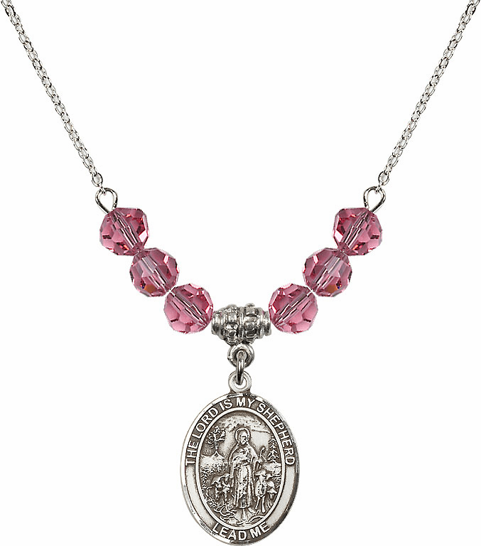 The Lord is My Shepherd Sterling October Rose Swarovski Crystal Beaded Necklace by Bliss Mfg